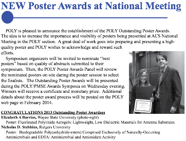 2013 ACS POLY Poster Award Congratulations Nick Stebbins